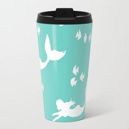 Mermaid Pattern Sea Green Travel Mug