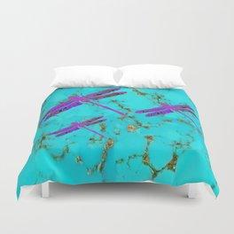 Purple Dragonflies Turquoise Gemstone Design Duvet Cover