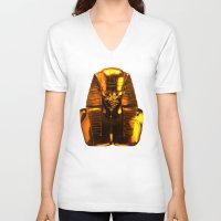 versace V-neck T-shirts featuring Gangsta Pharaoh II Gold & Versace by KARAM