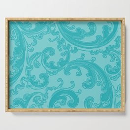 Retro Chic Swirl Teal Serving Tray