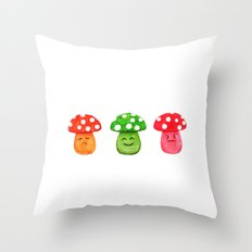 funny mushroom watercolor painting Throw Pillow