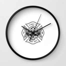 Vintage Firefighter Labels Concept With Letterings Crossed Axes Fireman Skull Helmet Illustration Wall Clock