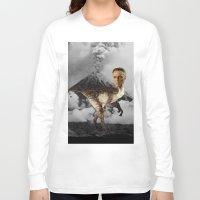 christopher walken Long Sleeve T-shirts featuring ChristopheRAPTOR Walken - Christopher Walken Velociraptor by Kalynn Burke