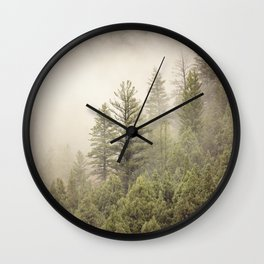 Color Landscape | Pine Forest in Fog Wall Clock