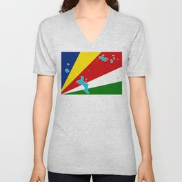Seychelles Flag with Maps of the Seychelles Islands Unisex V-Neck