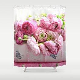 Shabby Chic Floral Prints Ranunculus Shower Curtain