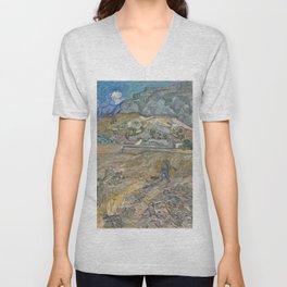 Vincent van Gogh - Landscape at Saint-Rémy (Enclosed Field with Peasant) (1889) Unisex V-Neck
