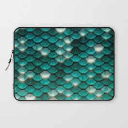 Turquoise sparkling mermaid glitter scales - Mermaidscales Laptop Sleeve