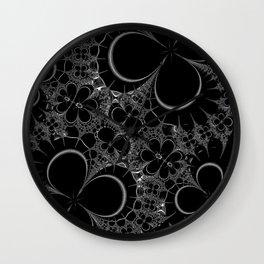 Floral Outline on Black Wall Clock