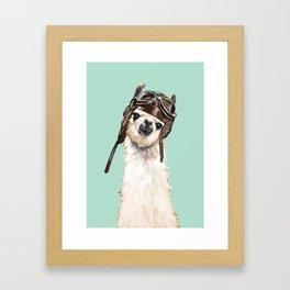 Cool Pilot Llama Framed Art Print