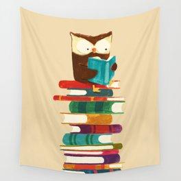 Owl Reading Rainbow Wall Tapestry