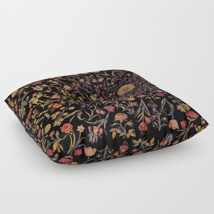 Medieval Flowers on Black Floor Pillow
