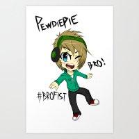 pewdiepie Art Prints featuring PEWDIEPIE! by Mindlesspeanutbutter