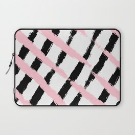Pink and Black Sketch Checker Laptop Sleeve