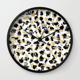 Black white marble faux gold glitter brushstrokes pattern Wall Clock