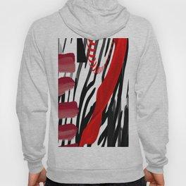 spinning red black white grey abstract geometric animal print digital art Hoody