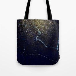 Golden Confetti on Neon Blue Tote Bag