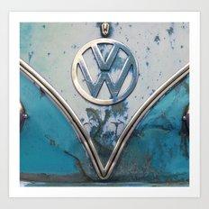 Blue Rusty VW Art Print