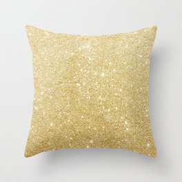 Golden Glitter Sparkley Throw Pillow