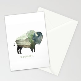 Buffalo Bison / Roam Wanderlust Adventure Travel / Rustic Woodland / Nursery / Gift / Watercolor Stationery Cards