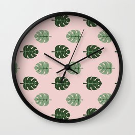 Tropical leaves Monstera deliciosa green and pink #monstera #tropical #leaves #floral #homedecor Wall Clock