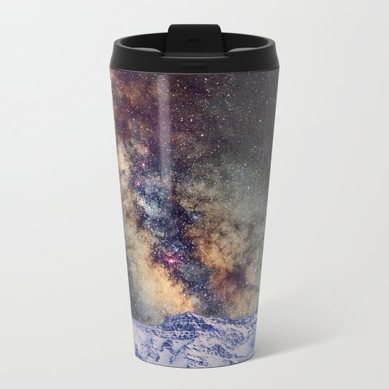 The star Antares, Scorpius and Sagitariuss over the hight mountains. The milky way. Metal Travel Mug