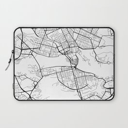 Stockholm Map, Sweden - Black and White Laptop Sleeve