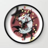 okami Wall Clocks featuring Okami Amaterasu by becka_miller