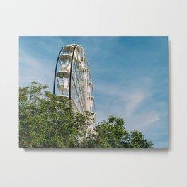 White Ferris Wheel In Fun Park, Theme Park, Ferris Wheel, Having Fun, Wall Art Decor Metal Print