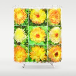 Watercolour Collage of Yellow And Orange Marigolds Shower Curtain