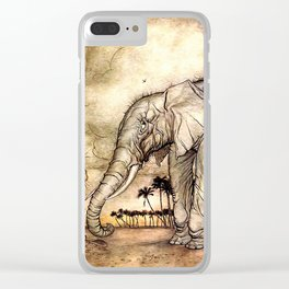 An Elephant and A Lion - Vintage Artwork Clear iPhone Case