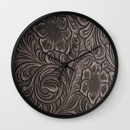 Distressed Smoky Tooled Leather Wall Clock