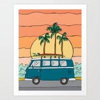 vw bus Art Prints featuring VW Bus by Sydney Peirce