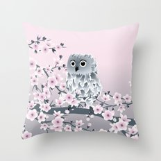 Cute Owl and Cherry Blossoms Pink Gray Throw Pillow