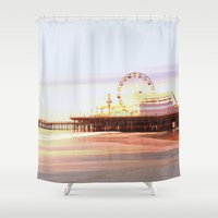santa monica Shower Curtains featuring Santa Monica Pier Sunrise by Christine aka stine1