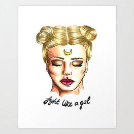 Fight Like a Girl - Sailor Moon Art Print