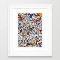 mondrian Framed Art Prints featuring Paris Mondrian by Mondrian Maps