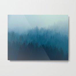 Misty Turquoise Blue Pine Forest Foggy Ombre Monochrome Trees Landscape Metal Print
