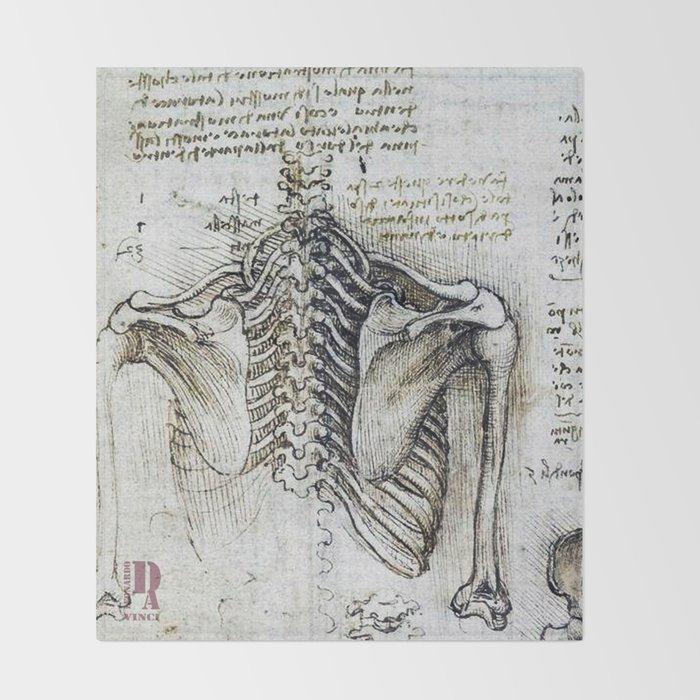 Leonardo Da Vinci Human Body Sketches Skeleton Throw Blanket By