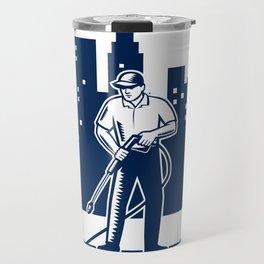 Pressure Washing Buildings Woodcut Retro Travel Mug