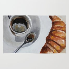 French breakfast, coffee and croissant, original oil painting, daily art Rug