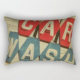Retro Car Wash Sign Rectangular Pillow