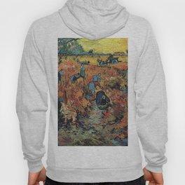 The Red Vineyards Oil Painting on Burlap by Vincent van Gogh Hoody