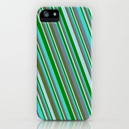Turquoise, Slate Gray, Dark Olive Green, Light Blue, and Green Colored Striped/Lined Pattern iPhone Case