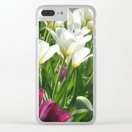 White and Purple Spring Flowers Clear iPhone Case