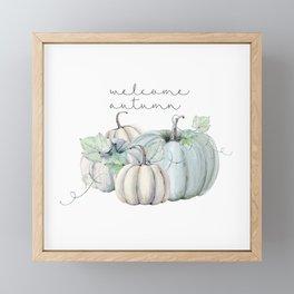 welcome autumn blue pumpkin Framed Mini Art Print