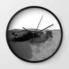 Black and White Penguin Wall Clock