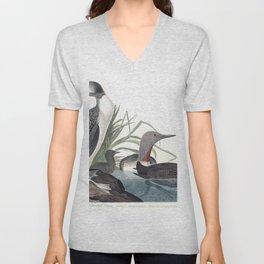 Red throated diver, Birds of America, Audubon Plate 202 Unisex V-Neck