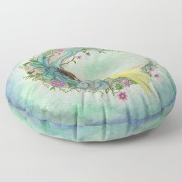 The Girl At The Moon Floor Pillow