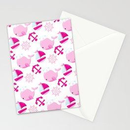 Whale Pattern, Sailor Whales, Sailor Boats - Pink Stationery Cards